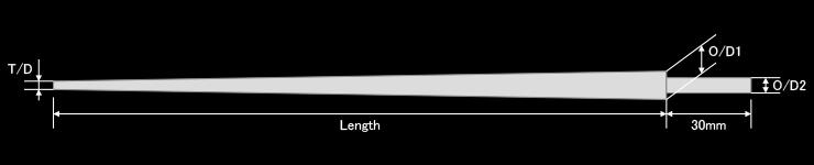 ※ティップ径(T/D)は無塗装の為、塗膜、誤差がありブランク(製品)のサイズとは異なります。※ソリッドチューンなど行われる場合は、必ず全て自己責任で行ってください。※当社では、ソリッドチューンなどへのロッド改造は行っておりません。あくまでもパーツだけのご提供になります。