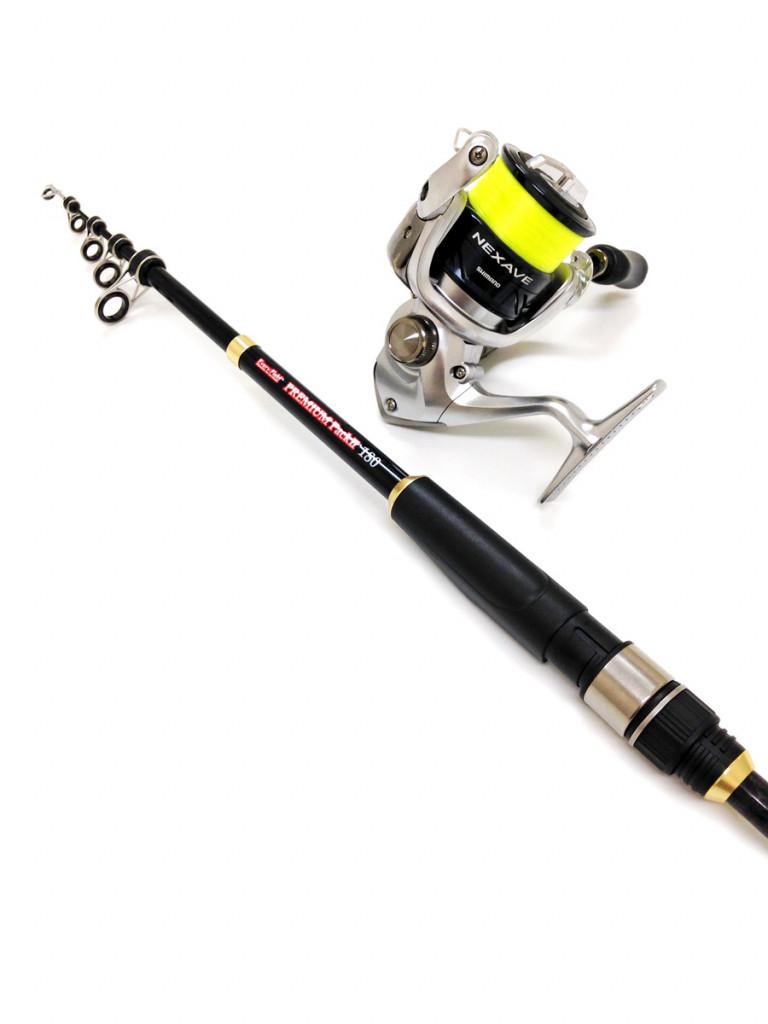 カーボン素材を使用した軽量で張りのある仕舞寸法がコンパクトな竿と シマノ製リール2500番をセットしたワンランク上の使用感のコンパクトセットになっています。ナイロンライン2.5号150m付き。 堤防からのキス・ハゼ釣りからボート釣りまで幅広い釣りに対応します。