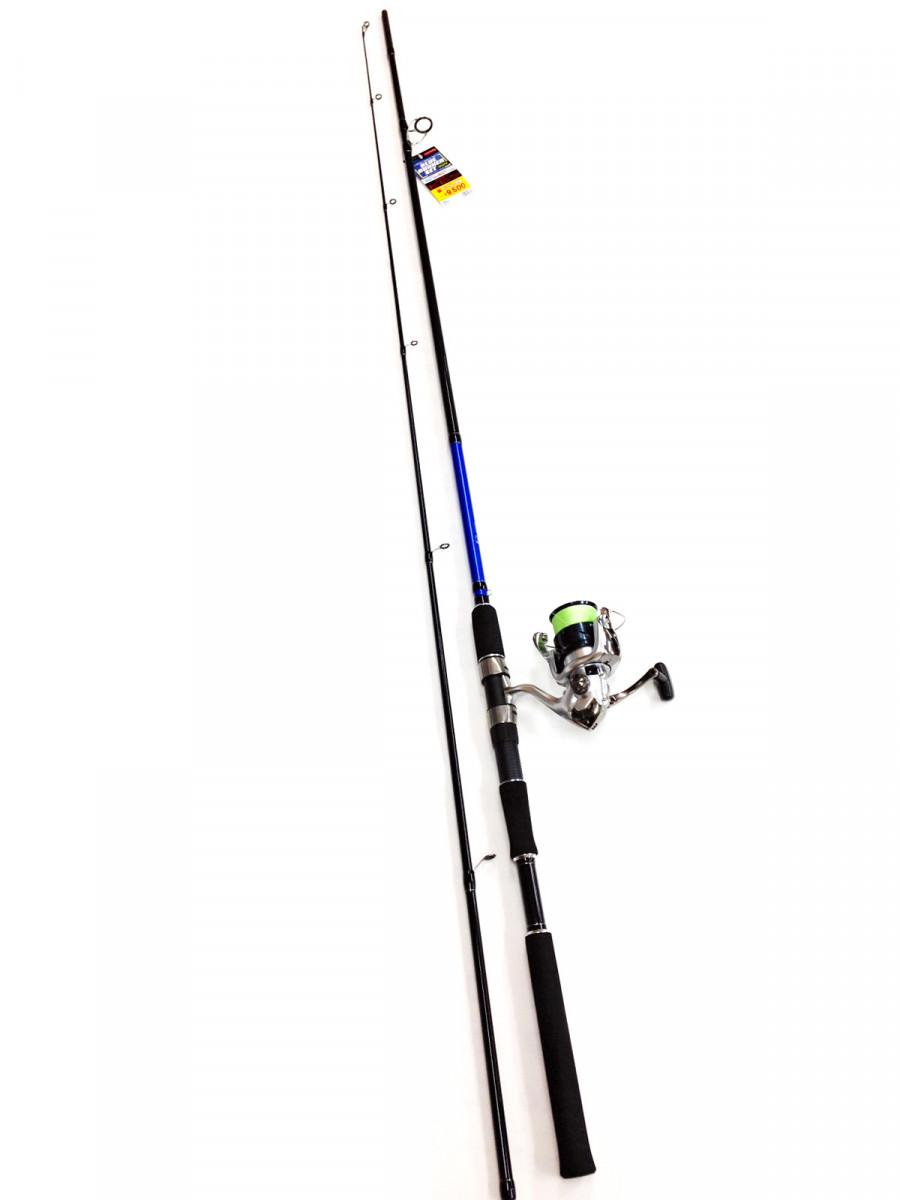 サーフからメタルジグでハマチ(幼魚)やソーダカツオを釣るための専用のリールと竿のセット。リールにPEラインを巻いてあるため、強度があり飛距離も良くなっています。シマノ製のリール、トップガイドには富士工業製SICガイドを採用と、品質にこだわったセットです。