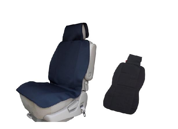大切なお車のシートを濡らさないためのネオプレーン製 防水シートカバー。ヘッドレストの根本にベルトを通すだけのカンタン取り付け。運転席・助手席用。(商品は1個入りでの販売です)